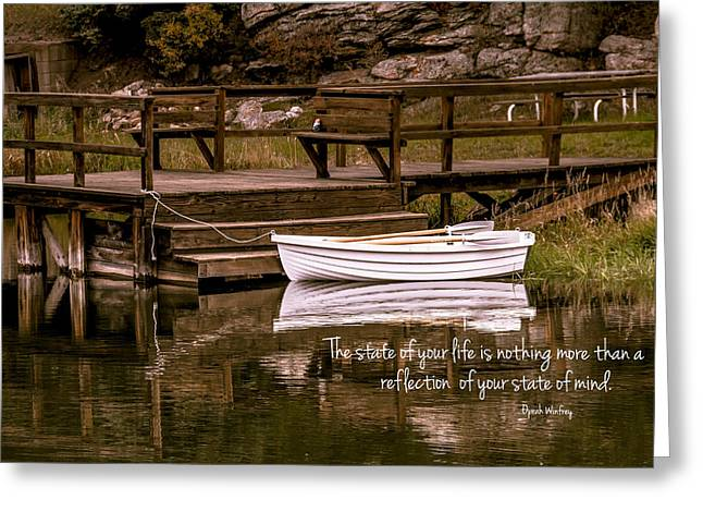 Row Boat Greeting Cards - Reflections Greeting Card by Teri Virbickis