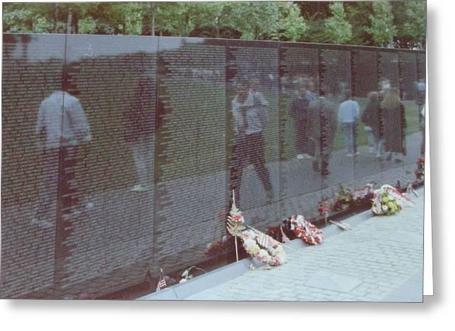 Reflections Vietnam Memorial Greeting Card by Joann Renner