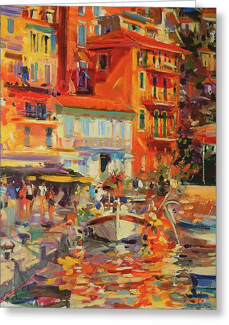 Warm Summer Greeting Cards - Reflections - Villefranche Greeting Card by Peter Graham