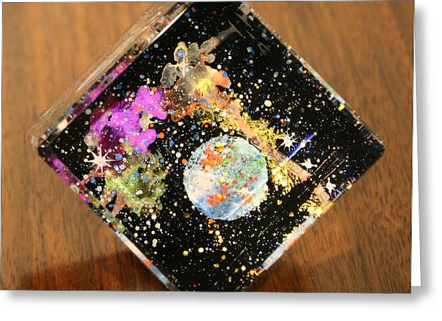 Planet Glass Art Greeting Cards - Reflections Greeting Card by Wolfgang Finger