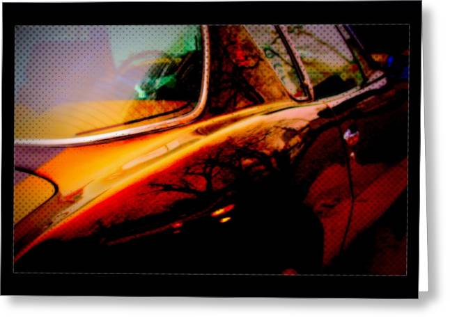 Reflective Chrome Comic Book Sports Car Greeting Card by Rosemarie E Seppala