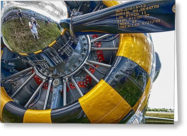 Aircraft Radial Engine Greeting Cards - Reflective metal Greeting Card by Armando Perez