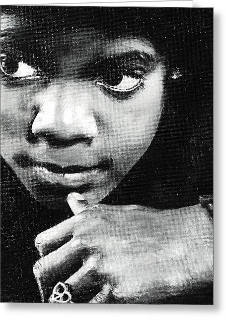 Young Michael Jackson Greeting Cards - Reflective Mood  Greeting Card by Cassandra Allsworth