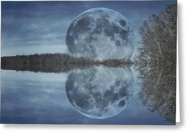 Super Moon Greeting Cards - Reflective Paradise Greeting Card by Betsy C  Knapp