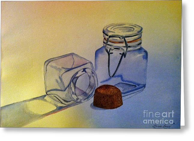 Water Jars Paintings Greeting Cards - Reflective Still Life Jars Greeting Card by Brenda Brown