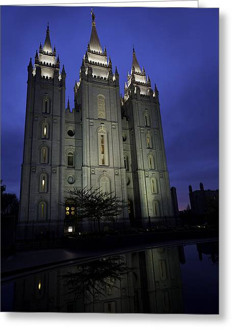 Salt Greeting Cards - Reflective Temple Greeting Card by Chad Dutson