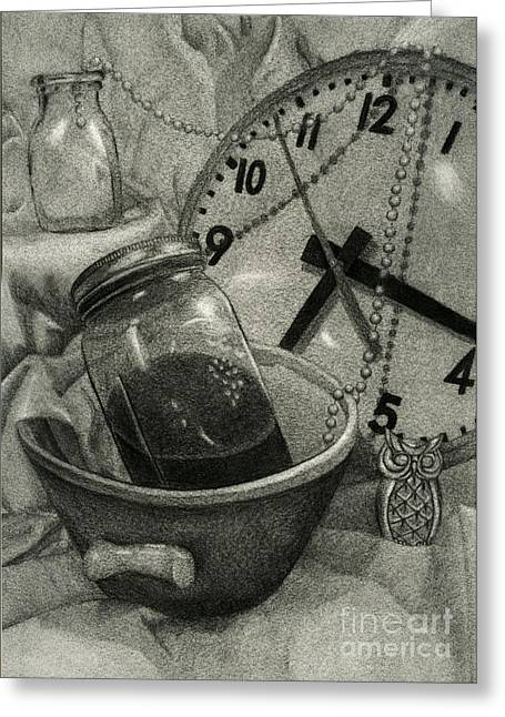 Mason Jars Drawings Greeting Cards - Reflective Time Greeting Card by Samantha Stutzman