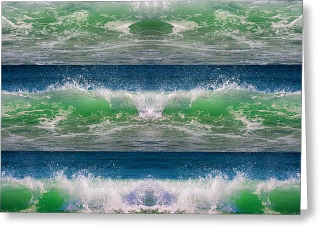 Atlantic Beaches Greeting Cards - Reflective Wave Sequence Greeting Card by Betsy A  Cutler