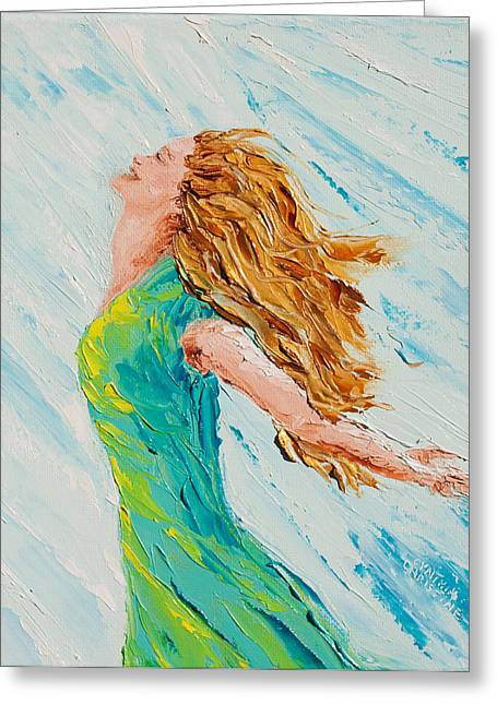 Dancing Girl Greeting Cards - Refreshed Greeting Card by Cynthia Christine