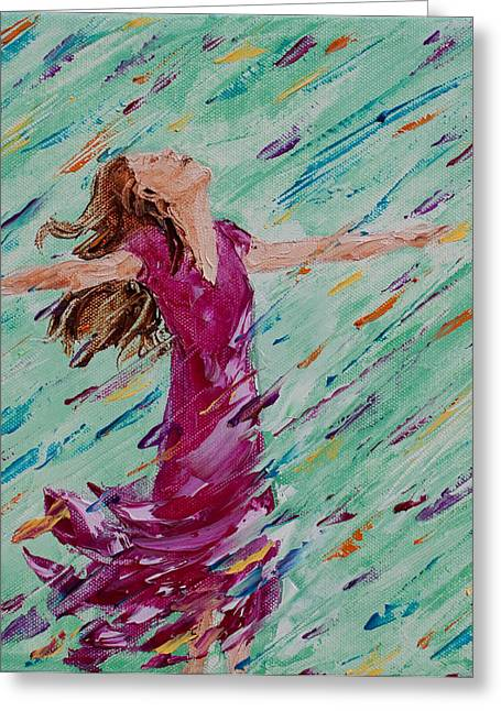 Recently Sold -  - Dancing Girl Greeting Cards - Refreshing Rain Greeting Card by Cynthia Christine