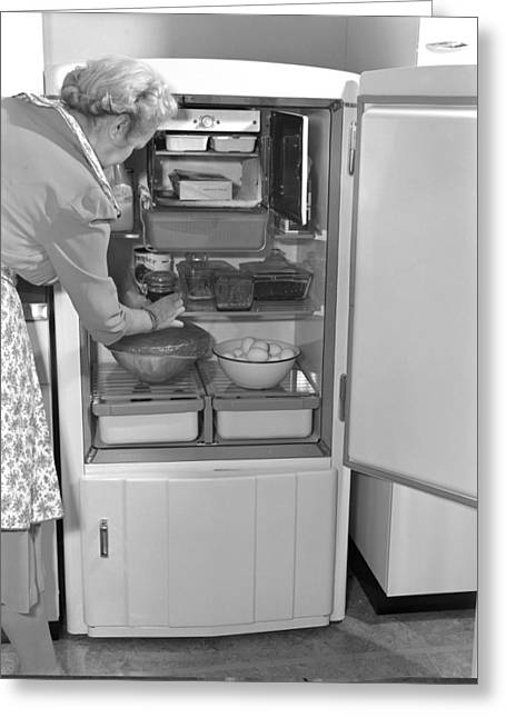 Public Administration Greeting Cards - Refrigerator, 1940s Greeting Card by Science Photo Library