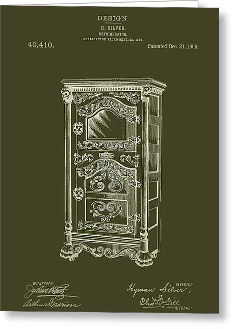 Art Product Drawings Greeting Cards - Refrigerator Patent 1909 Greeting Card by Mountain Dreams