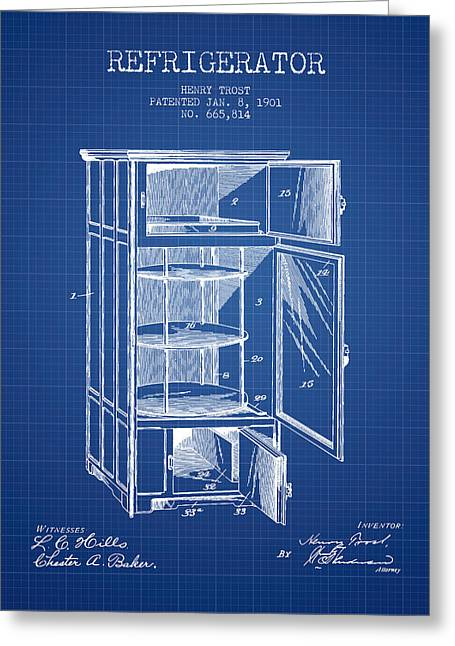 Cooling Greeting Cards - Refrigerator patent from 1901 - Blueprint Greeting Card by Aged Pixel