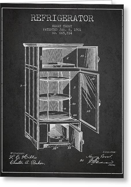 Cooling Greeting Cards - Refrigerator patent from 1901 - Dark Greeting Card by Aged Pixel