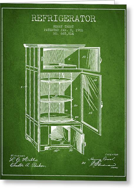 Cooling Greeting Cards - Refrigerator patent from 1901 - Green Greeting Card by Aged Pixel