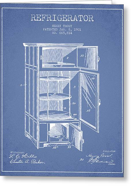 Cooling Greeting Cards - Refrigerator patent from 1901 - Light Blue Greeting Card by Aged Pixel