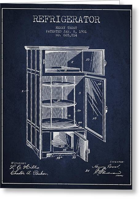 Cooling Greeting Cards - Refrigerator patent from 1901 - Navy Blue Greeting Card by Aged Pixel