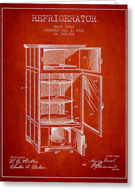 Cooling Greeting Cards - Refrigerator patent from 1901 - Red Greeting Card by Aged Pixel
