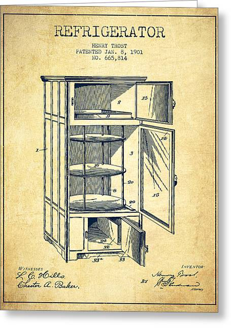 Cooling Greeting Cards - Refrigerator patent from 1901 - Vintage Greeting Card by Aged Pixel