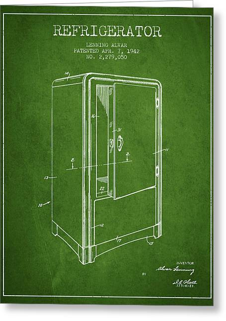 Cooling Greeting Cards - Refrigerator patent from 1942 - Green Greeting Card by Aged Pixel