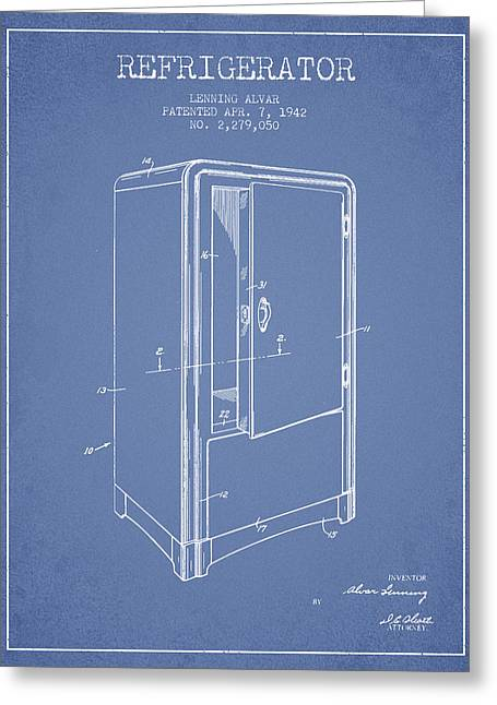 Cooling Greeting Cards - Refrigerator patent from 1942 - Light Blue Greeting Card by Aged Pixel