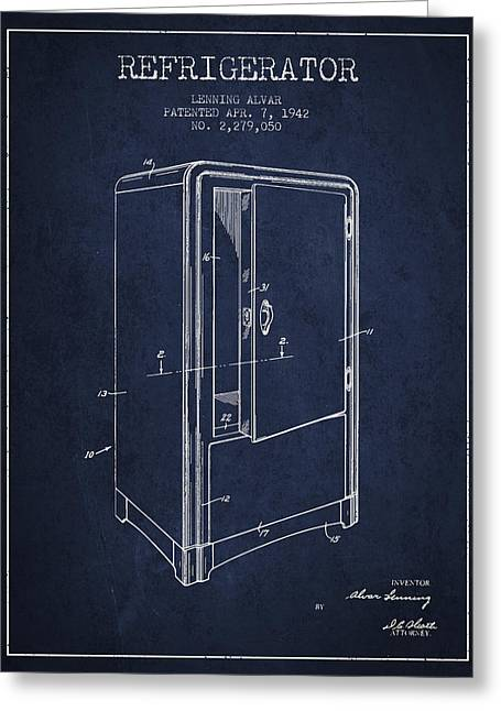 Cooling Greeting Cards - Refrigerator patent from 1942 - Navy Blue Greeting Card by Aged Pixel