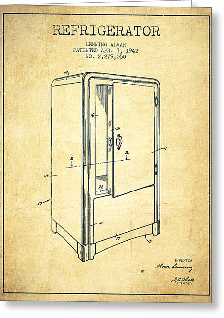 Cooling Greeting Cards - Refrigerator patent from 1942 - Vintage Greeting Card by Aged Pixel