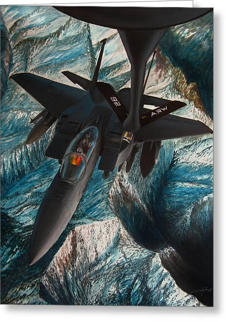 Air Force Mixed Media Greeting Cards - Refueling the Strike Eagle Greeting Card by Dale Jackson