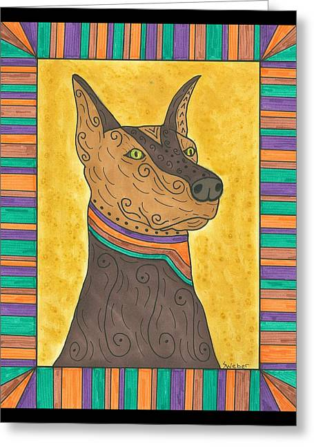 Susie Weber Greeting Cards - Regal Doberman Greeting Card by Susie Weber