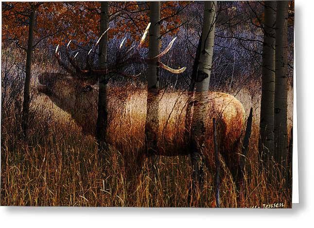 Michelle Mixed Media Greeting Cards - Regal Elk Greeting Card by Wishes and Whims Originals By Michelle Jensen