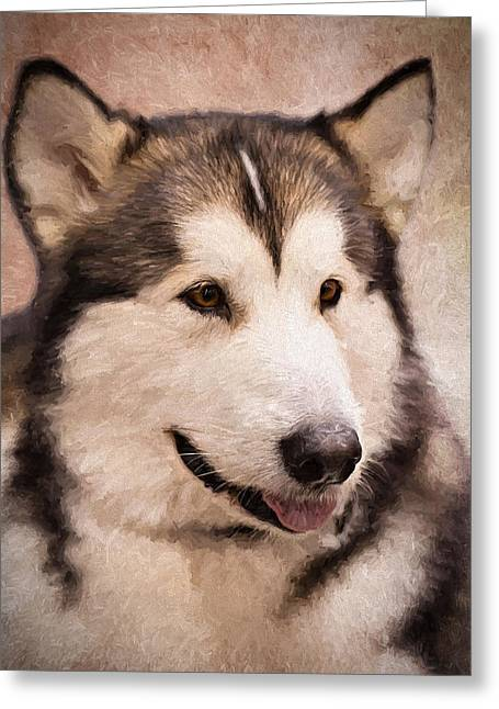 Sled Dogs Greeting Cards - Regal Malamute Greeting Card by Karen Zucal Varnas