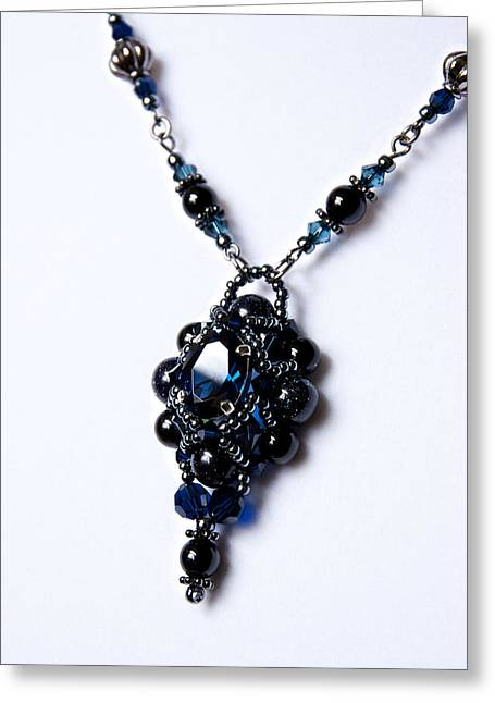 Sapphire Jewelry Greeting Cards - Regal Sapphire Pendant Necklace and Matching Earrings Set Greeting Card by WDM Gallery