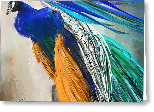 Blue And Orange Greeting Cards - Regal Vibrancy- Peacock Paintings Greeting Card by Lourry Legarde