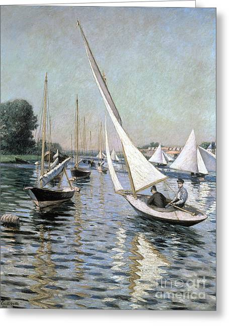 Boats At Dock Greeting Cards - Regatta at Argenteuil Greeting Card by Gustave Caillebotte