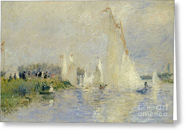 Sailboat Ocean Greeting Cards - Regatta at Argenteuil Greeting Card by Pierre Auguste Renoir
