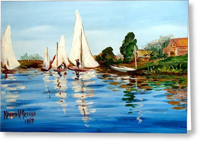 Sailboat Art Greeting Cards - Regatta de Argenteuil Greeting Card by Karon Melillo DeVega