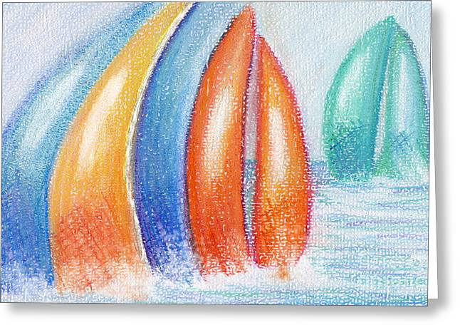 Nautical Pastels Greeting Cards - Regatta Dreams Greeting Card by Kim Niles