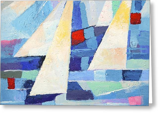 Abstract Seascape Greeting Cards - Regatta Marine Greeting Card by Lutz Baar
