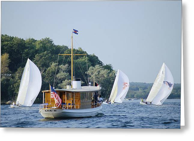 Recently Sold -  - Blue Sailboat Greeting Cards - Regatta Watcher - Lake Geneva Wisconsin Greeting Card by Bruce Thompson