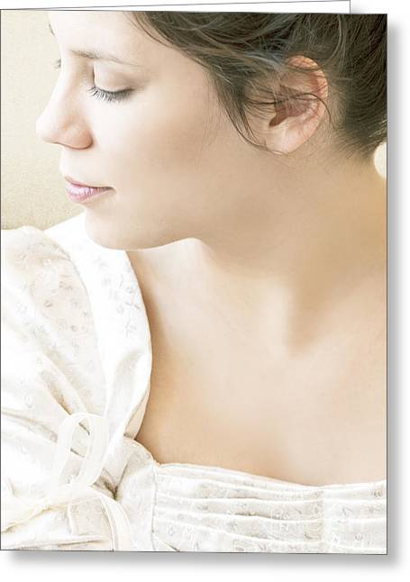 Face In Profile Greeting Cards - Regency Beauty Greeting Card by Margie Hurwich