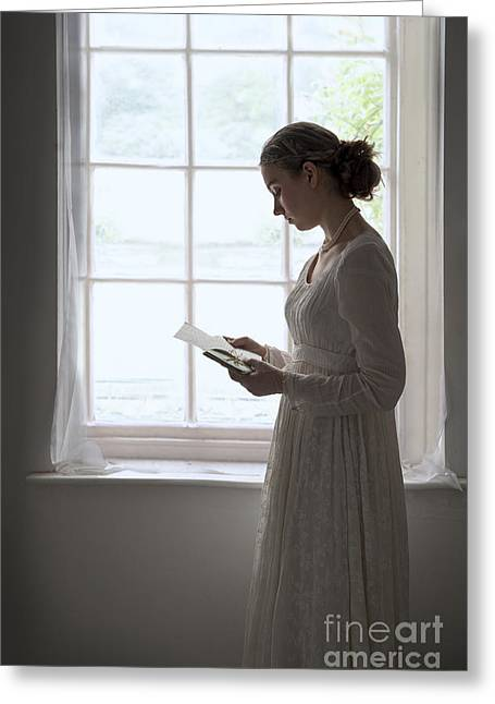 Long Sleeved Dress Greeting Cards - Regency Period Woman In Empire Line Dress Reading A Letter At Th Greeting Card by Lee Avison