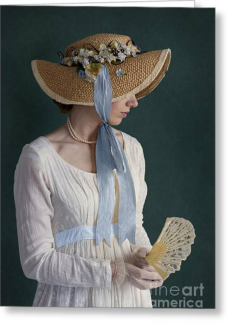 Long Sleeved Dress Greeting Cards - Regency Period Woman With Empire Line Dress And Straw Bonnet Hol Greeting Card by Lee Avison