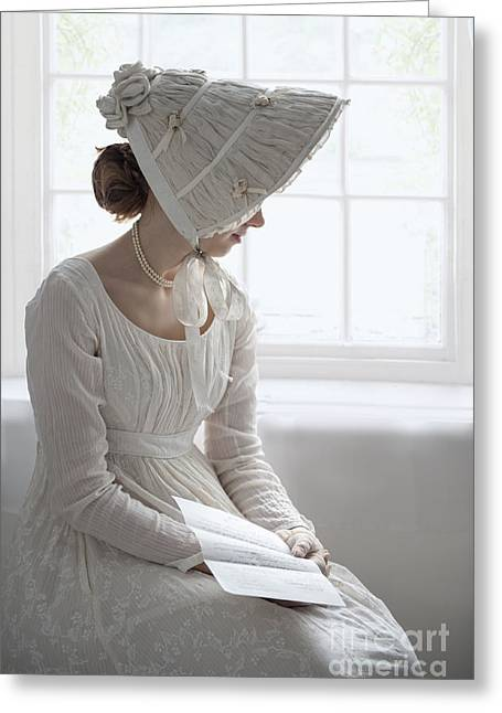 Long Sleeved Dress Greeting Cards - Regency Woman Wearing An Empire Line Dress Reading A Letter Greeting Card by Lee Avison