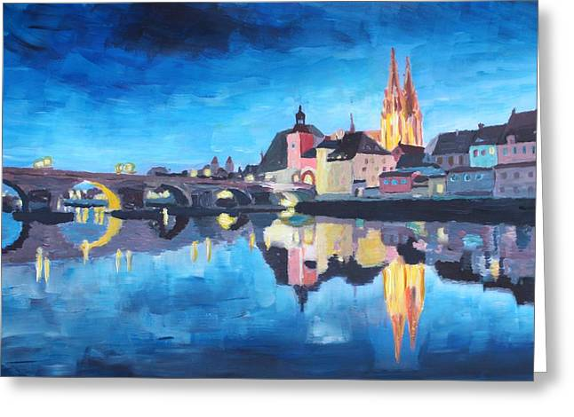 Oberpfalz Greeting Cards - Regensburg Bavaria at Dawn Greeting Card by M Bleichner
