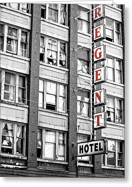 Hotel Window Greeting Cards - Regent Hotel Greeting Card by Jerry Cordeiro