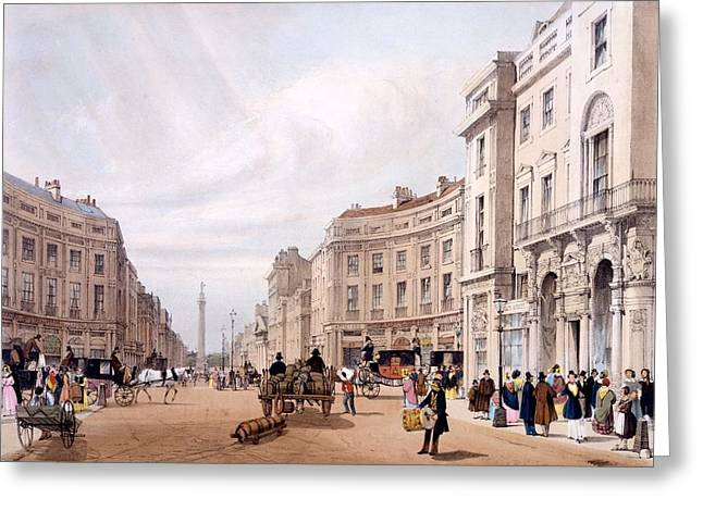 Duke Drawings Greeting Cards - Regent Street, Looking Towards The Duke Greeting Card by Thomas Shotter Boys