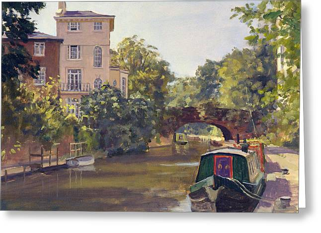 Urban Landscape Greeting Cards - Regents Park Canal Oil On Canvas Greeting Card by Julian Barrow