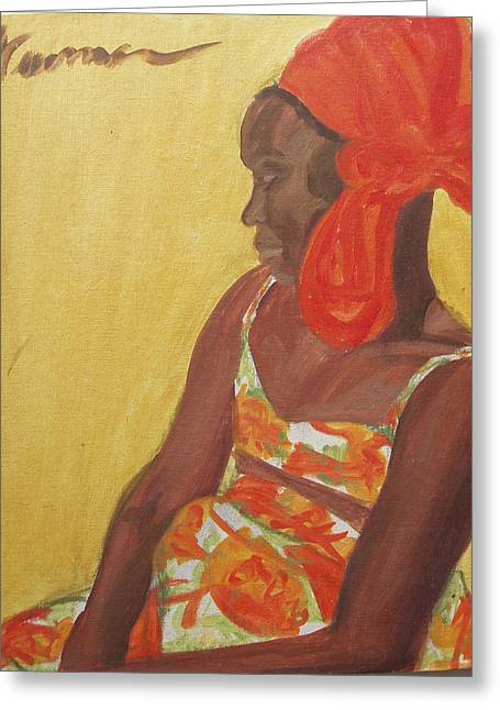 Oil On Canvas Board Greeting Cards - Reggae Model Greeting Card by Esther Newman-Cohen