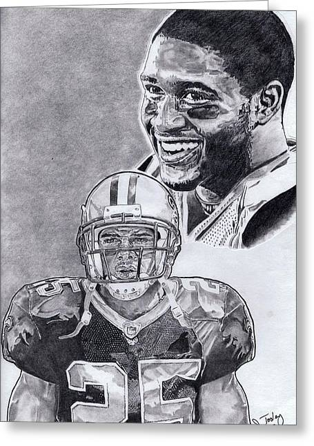 Pro Football Drawings Greeting Cards - Reggie Bush Greeting Card by Jonathan Tooley