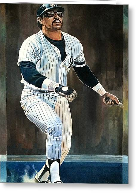 Reggie Jackson New York Yankees Greeting Card by Michael  Pattison